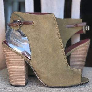 COACH Olive green booties peep toe softest boot